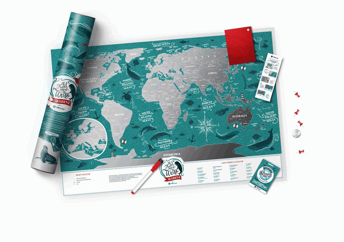 """Stírací mapa světa """"Travel Map Marine World"""""""