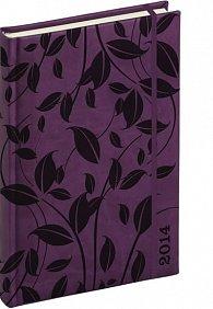 Diář 2014 - Tucson-Vivella speciál - Denní B6, tmavě fialová, lístky (ČES, SLO, ANG, NĚM)