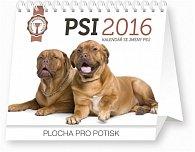 Kalendář stolní 2016 - Psi - se jmény psů Praktik,  16,5 x 13 cm