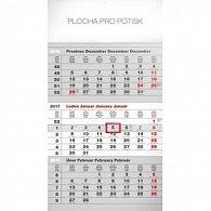 Kalendář nástěnný 2017 - 3měsíční standard/šedý s českými jmény