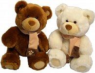 Medvídek se šálou hnědý/krémový 25cm