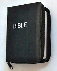 Bible se zipem, umělá černá kůže