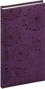Diář 2014 -Tucson-Vivella speciál - Kapesní, tmavě fialová, květiny (ČES, SLO, ANG, NĚM)