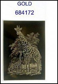 Škrabací obrázek A5 žirafa s mládětem GOLD