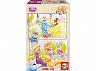 Puzzle dřevěné Disney princezny 2v1 16 dílků