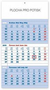 Kalendář 2015 - Standard modrý 3měsíční s českými jmény - nástěnný s prodlouženými zády