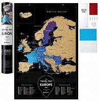 Stírací mapa Travel Map Europe Black