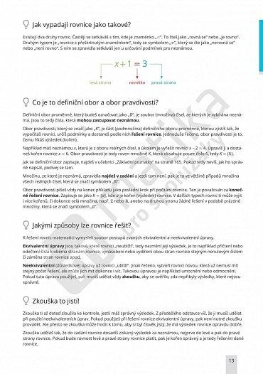 Náhled Matika pro spolužáky: Rovnice a nerovnice - Učebnice