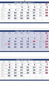 Kalendář nástěnný 2017 - 3měsíční/modrý skládaný s jmenným kalendáriem