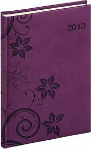 Diář 2013 - Tucson-Vivella - Týdenní A5, tmavě fialová, květiny, 15 x 21 cm
