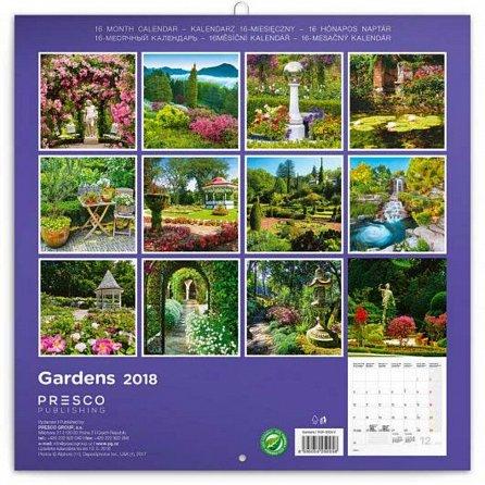Náhled Kalendář poznámkový 2018 - Zahrady, 30 x 30 cm