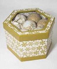 Zlatobílé vánoční koule po 14 ks
