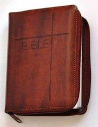 Bible se zipem, umělá hnědá kůže