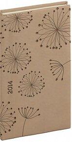 Diář 2014 - Tucson-Vivella speciál - Kapesní, krémová, květiny (ČES, SLO, ANG, NĚM)