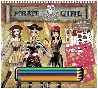 Fashion Girl kreativní skicák - Pirátská návrhářka (s pastelkami)