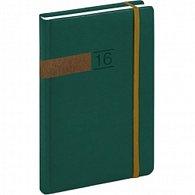 Diář 2016 - Twill - Týdenní A5, zelenobronzová,  15 x 21 cm
