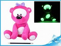 Medvídek plyšový 30cm svítící ve tmě růžový 0m+ v sáčku