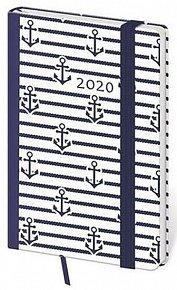 Diář 2020 - Vario/týdenní/kapesní/Marine s gumičkou