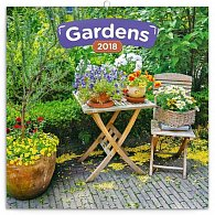 Kalendář poznámkový 2018 - Zahrady, 30 x 30 cm