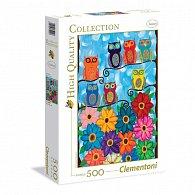 Puzzle 500 dílků Barevné sovy