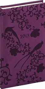 Diář 2013 - Tucson-Vivella - Kapesní, tmavě fialová, ptáci, 9 x 15,5 cm