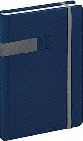 Diář 2015 - Twill - Denní B6, modrostříbrná (CZ, SK, GB, DE)