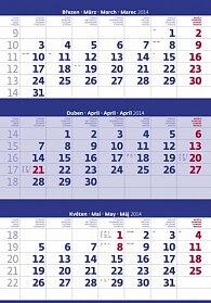 Kalendář 2014 - Tříměsíční modrý - nástěnný