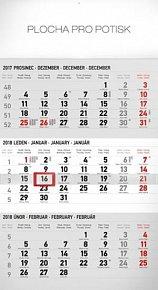 Kalendář nástěnný 2018 - 3měsíční standard/šedý s českými jmény