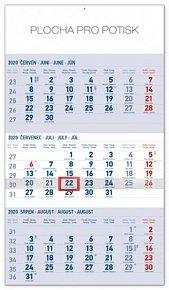 Kalendář nástěnný 2020 - 3měsíční standard modrý – s českými jmény, 29,5 × 43 cm