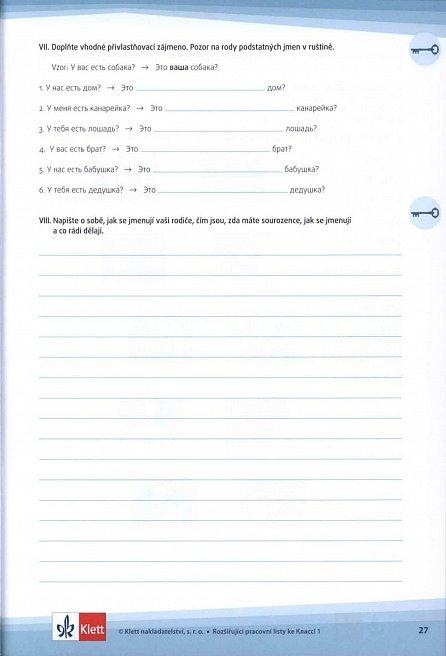Náhled Rozšiřující pracovní listy k učebnici Klass! 1