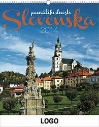Pamätihodnosti Slovenska se slovenskými menami Praktik - nástěnný kalendář 2014