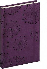 Diář 2014 - Tucson-Vivella speciál - Denní B6, tmavě fialová, květiny (ČES, SLO, ANG, NĚM)