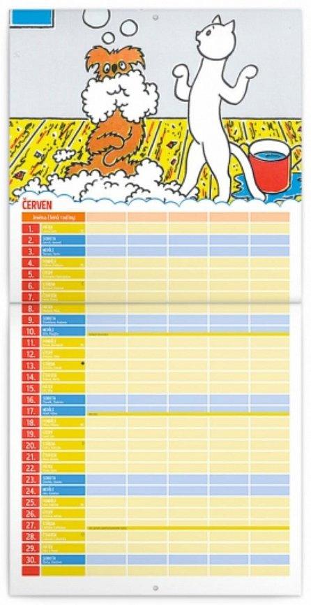 Náhled Kalendář poznámkový 2018 - Pejsek a kočička, 30 x 30 cm