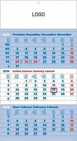 Kalendář 2014 - Standard modrý 3měsíční s českými jmény - nástěnný s prodlouženými zády