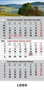 Kalendář 2013 - Krajina šedý 3měsíční s