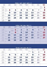 Kalendář nástěnný 2018 - 3měsíční/modrý s jmenným kalendáriem