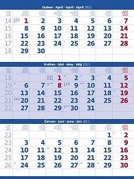 Kalendář nástěnný 2013 - Tříměsíční modrý