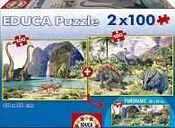 Puzzle Svět dinosaurů 2v1 100 dílků