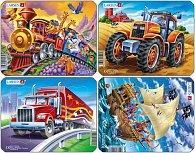 Puzzle MINI - MIX-piráti,traktor,truck,vlak/8 dílků (4 druhy)