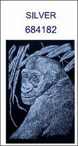 Škrabací obrázek A5 gorila SILVER