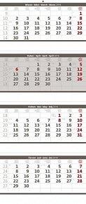 Kalendář nástěnný 2016 - Čtyřměsíční - skládaný šedý