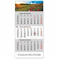 Kalendář 2015 - Krajina šedý 3měsíční s českými jmény - nástěnný s prodlouženými zády