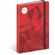 Diář 2017 - Alfons Mucha - týdenní/Červený