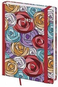 Diář 2020 - Vario/denní A5/Roses s gumičkou
