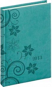 Diář 2013 - Tucson-Vivella - Denní A5, tyrkysová, květiny, 15 x 21 cm