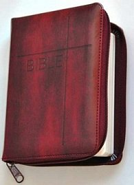Bible se zipem, umělá vínová kůže