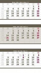 Kalendář 2014 - Tříměsíční skládaný - šedý - nástěnný