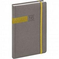 Diář 2016 - Twill - Denní B6, šedozlatá,  11 x 17 cm