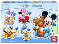 Puzzle pro nejmenší Mickey Mouse, pět motivů, 3,4,5 dílků