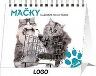 Mačky s menami mačiek Praktik - stolní kalendář 2014